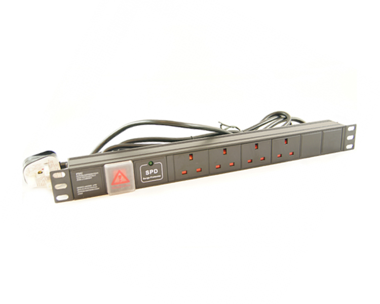 Allrack 6 Way UK Horizontal PDU With UK Lead (PDU6HSUR)