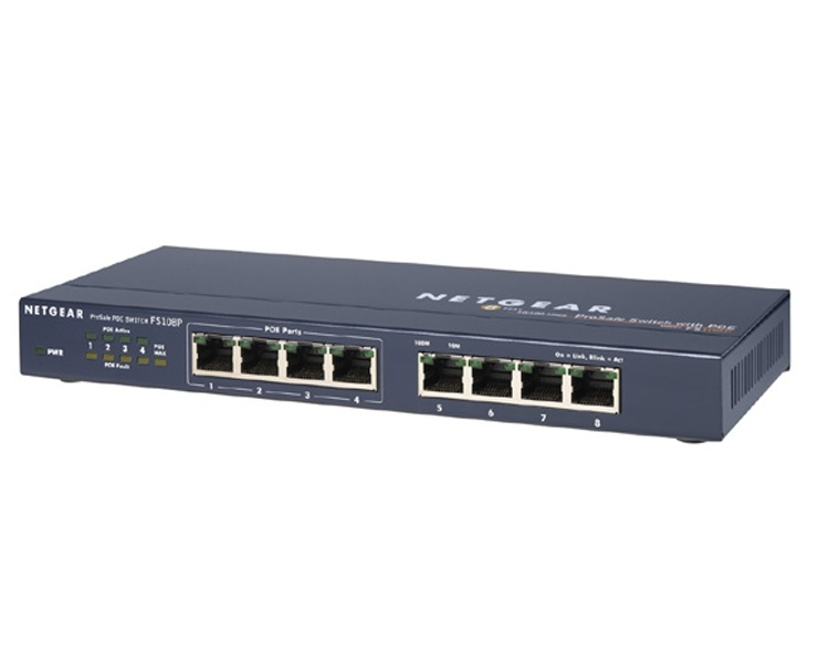 Netgear Prosafe FS108P 8-Port 10/100 Switch with 4-Port POE