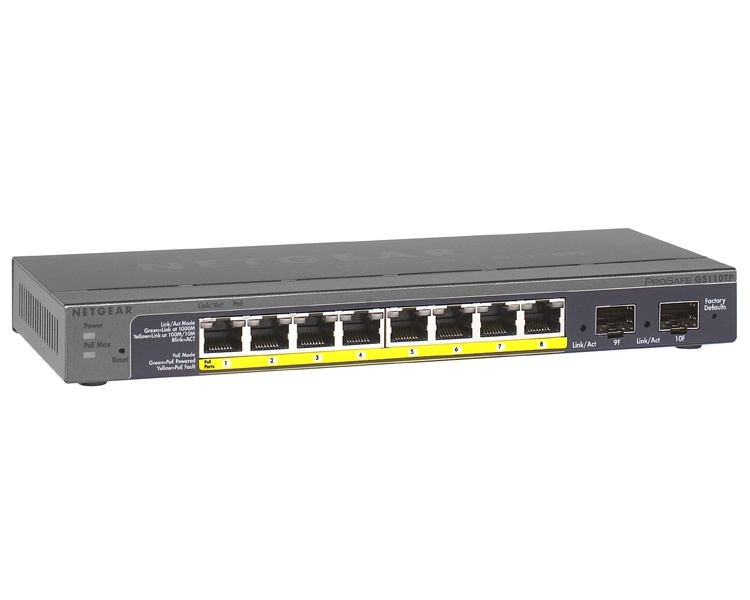 Netgear Prosafe GS110TP 8-Port Gigabit POE Smart Switch with 2 Gigabit Fiber Ports SFP