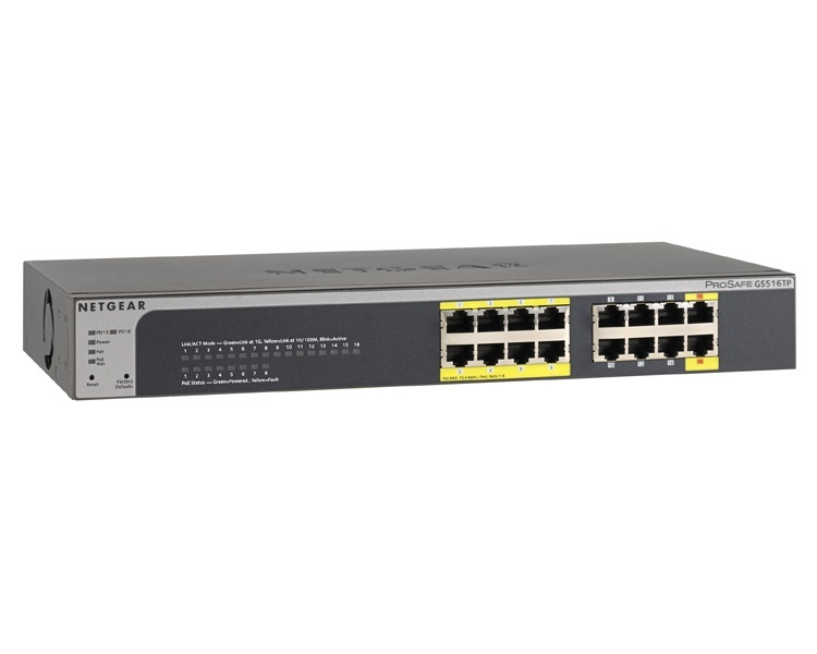 Netgear Prosafe GS516TP 16-Port Gigabit PoE/PoE+ Smart Switch (8 Ports of PoE)